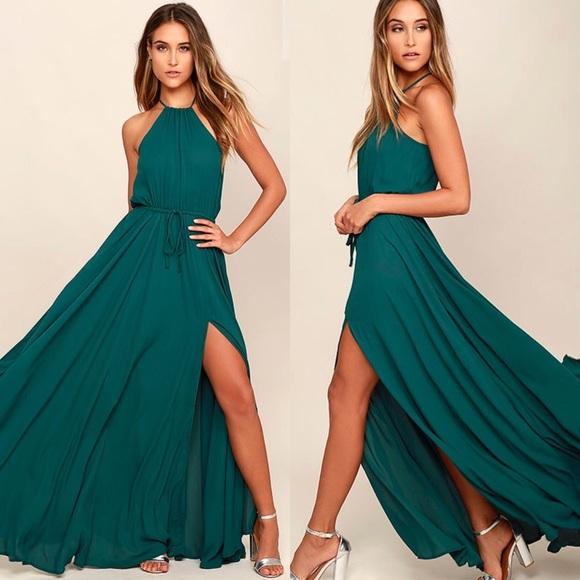 eb01e8088c11c Lulu's Dresses & Skirts - Gorgeous emerald green chiffon maxi dress 👗